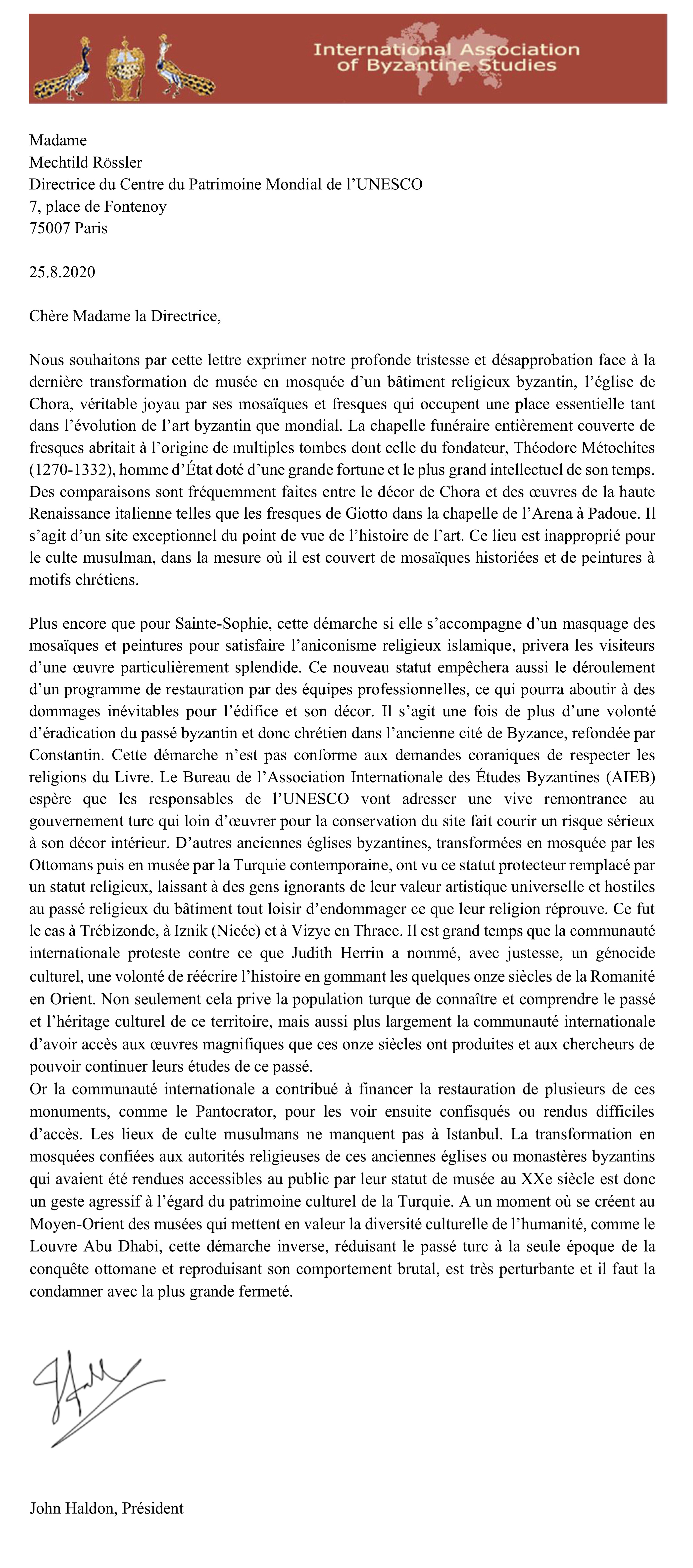 Lettera Haldon Chora UNESCO